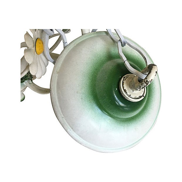 Green 1950s Italian Daisies Chandelier For Sale - Image 8 of 8
