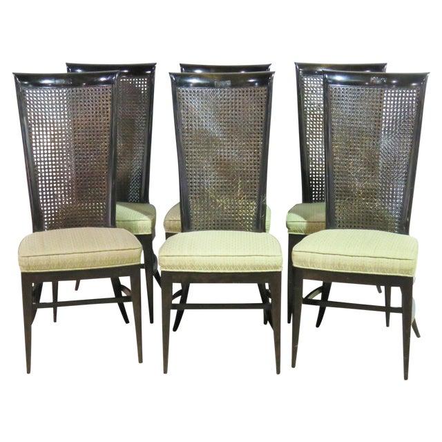 6 Harvey Probber Ebonized Caned Back Dining Chairs - Image 1 of 6