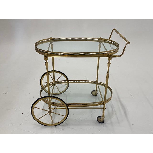 Mid-Century Modern Oval Brass & Glass Bar Cart For Sale - Image 12 of 12