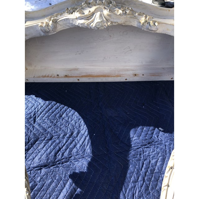 Louis XV Style Relief Carved Antiqued Ivory Painted Parcel-Gilt Console Table For Sale - Image 10 of 12