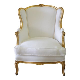 Early 20th Century Louis XV Style Giltwood Belgian Linen Wing Chair