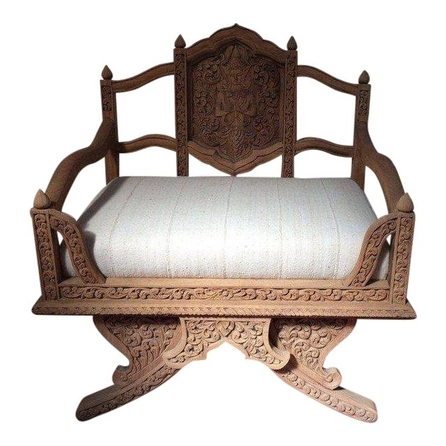 Antique Carved Wooden Elephant Saddle Chair With Hand Woven Textile Cushion For Sale