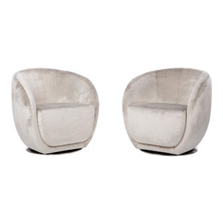 Mid-Century Style Silver Swivel Club Chairs - a Pair