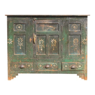 Indian Rustic Green Cabinet