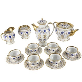 19th Century Porcelain Tea and Coffee Service for Six by k.p.m For Sale