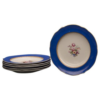 19th Century Antique English Sèvres Style Copeland Dessert Salad Plates - Set of 6 For Sale