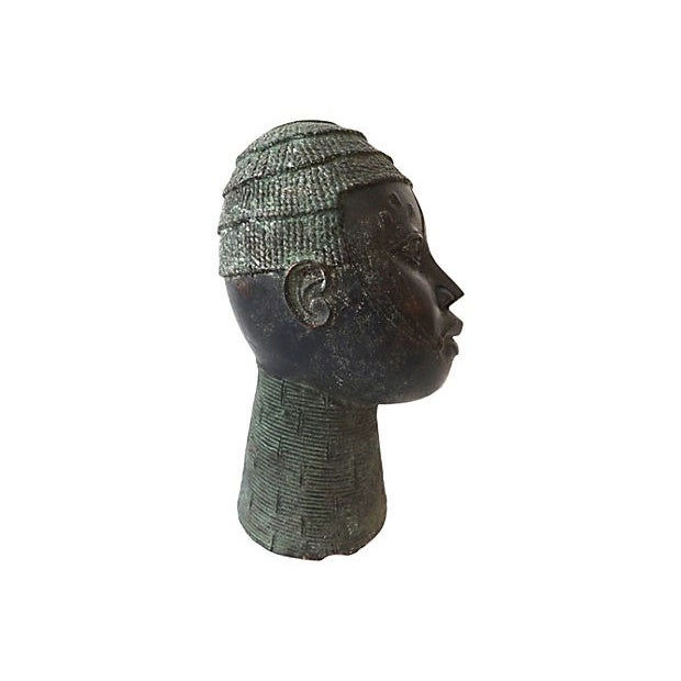 African African Benin Bronze Head of King Oba For Sale - Image 3 of 6