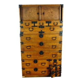 19th Century Antique Japanese Isho Tansu Clothing Chest For Sale