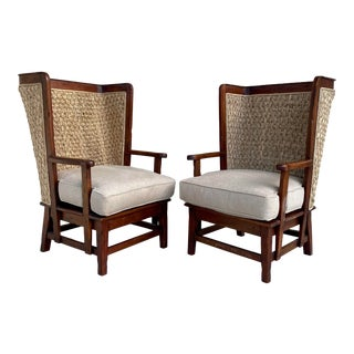 Henredon for Ralph Lauren Orkney Wood Seagrass Chairs - a Pair For Sale
