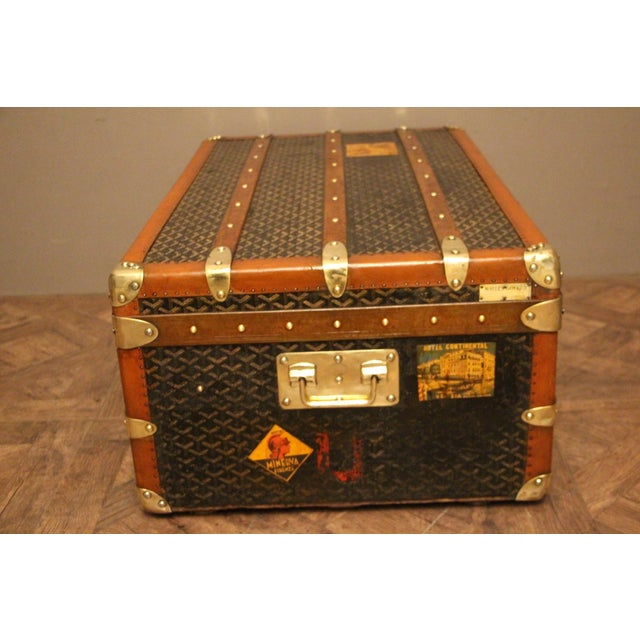 About This Goyard steamer trunk features the very sought after chevrons canvas as well as all solid brass fittings: Goyard...