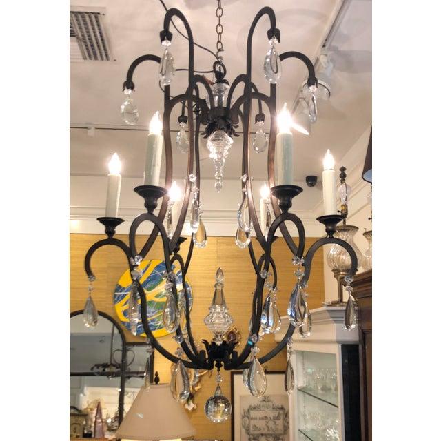 2000s Superb Dennis & Leen Bronze & French Crystal Chandelier For Sale - Image 5 of 5