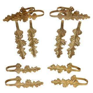 Cast Brass Leaf Curtain Drapery Tie Backs - 6 Pairs