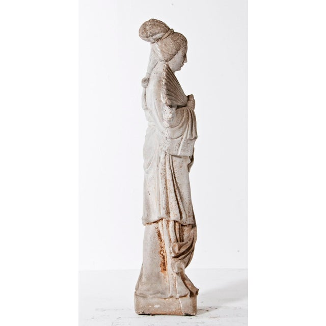 Early 20th Century Mid Century Vintage Cast Stone Figure of a Goddess For Sale - Image 5 of 8