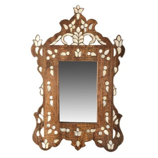 1940s Wood and Mother of Pearl Inlay Mirror For Sale