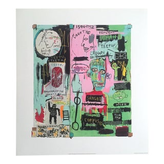 "Jean Michel Basquiat Original Pop Art Lithograph Print "" in Italian "" 1983 For Sale"