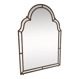 Large Designer Mirror With Gold Finish For Sale