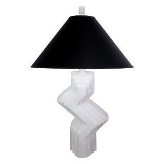 70's Plaster Ziggurat Lamp With Lucite Finial Preview