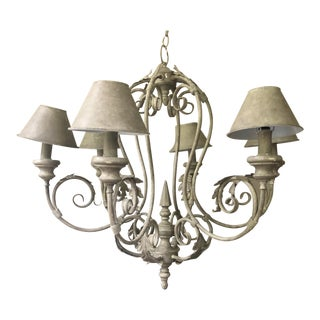 Large French Grey Tole Chandelier For Sale