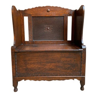 1900s Antique English Carved Oak Bench Seat Lift Top Jacobean Arts Crafts Pew For Sale