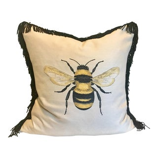 Bee Appliqué Pillow With French Ticking Back For Sale