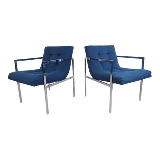 Mid-Century Milo Baughman Style Tufted Armchairs For Sale