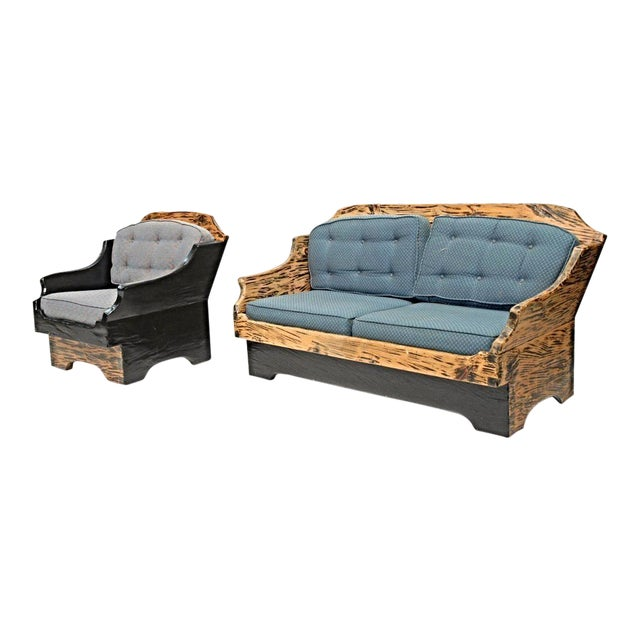 Wood Grain Country Sofa & Lounge Chair - A Pair For Sale