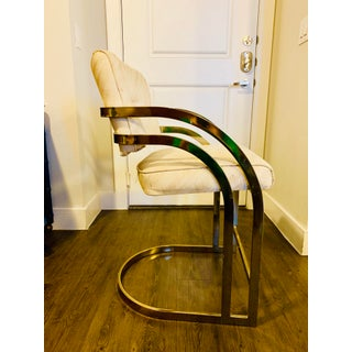 Mid Century Milo Baughman Style Cantilever Brass Bar Stool Preview