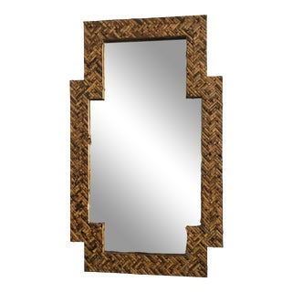 Mid Century Herringbone Pattern Woven Rattan/Bamboo Wall Mirror For Sale