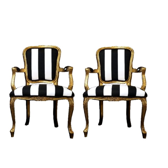 Not Yet Made - Made To Order Vintage Louis XV Style Gold Black and White Stripe Chairs - a Pair For Sale - Image 5 of 5