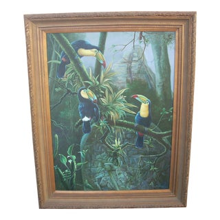 """Trio of Toucans"" Signed Oil on Canvas For Sale"