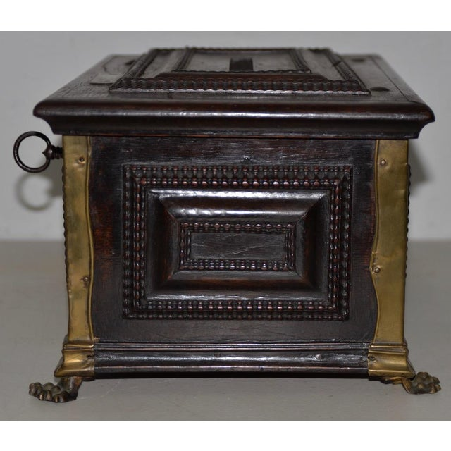 Early 18th Century Early 18th Century Carved Walnut & Brass Alms Box C. 1724 For Sale - Image 5 of 13