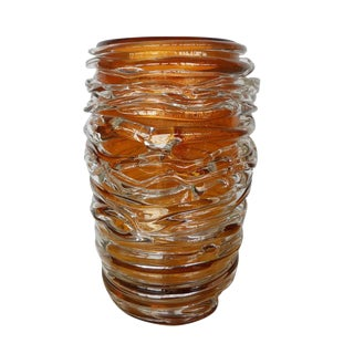 Vintage Mid Century Italian Amber Murano Glass Vase by Pino Signoretto For Sale