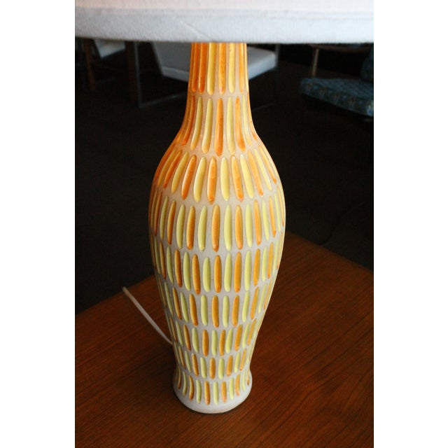 Raymor Italian Incised Pottery Lamp - Image 4 of 5