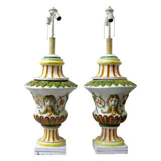 Italian Maiolica Table Lamps - A Pair