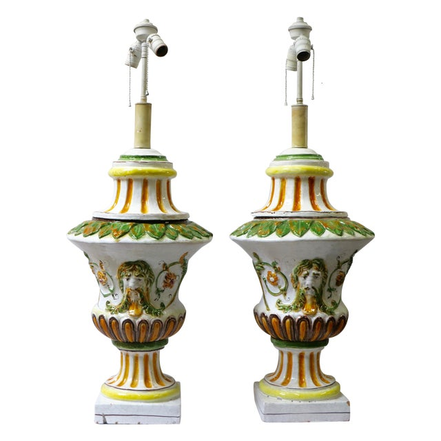 Italian Maiolica Table Lamps - A Pair - Image 1 of 9