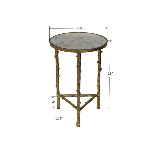 Metal Contemporary Glostrup Coffee & Side Table Combo Set, Mirrored Top, Accent Home Furniture, Living Room, Gold Leafing Finish For Sale - Image 7 of 8