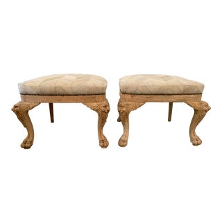 Antique Chevron Hide Oak Ottomans- a Pair For Sale