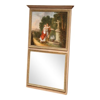 19th Century French Hand-Painted Gilt Trim Trumeau Mirror From Normandy For Sale