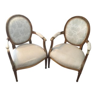 French Louis XVI Style Distressed Arm Chair
