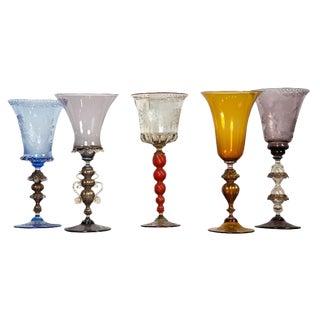 Venetian Glass Goblets - Set of 5 For Sale