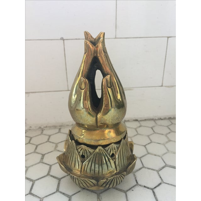 Hands on Lotus Brass Incense Burner - Image 2 of 8