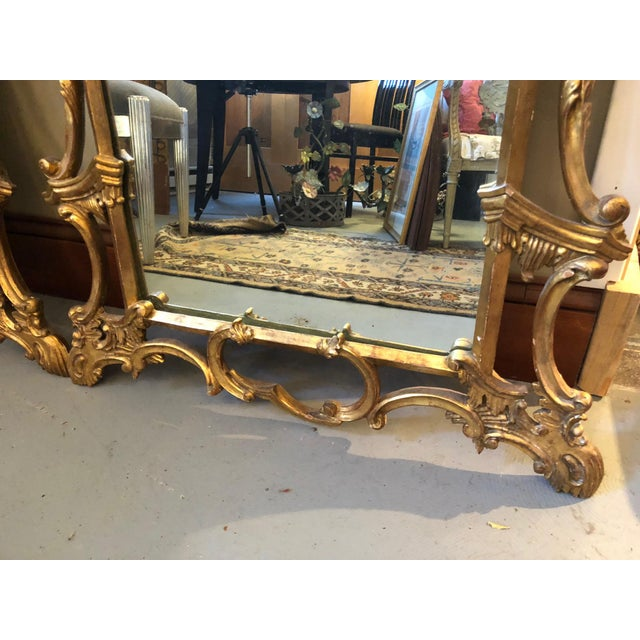 Glass Chippendale Style Mid Century Hand Carved Gilt Italian Rococo Mirrors - a Pair For Sale - Image 7 of 11