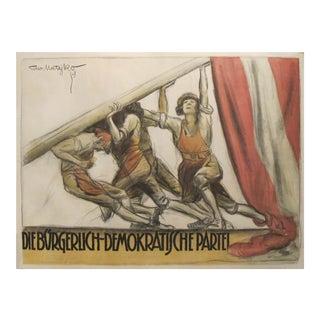1919 Austrian Vintage Political Poster, Social Democratic Party