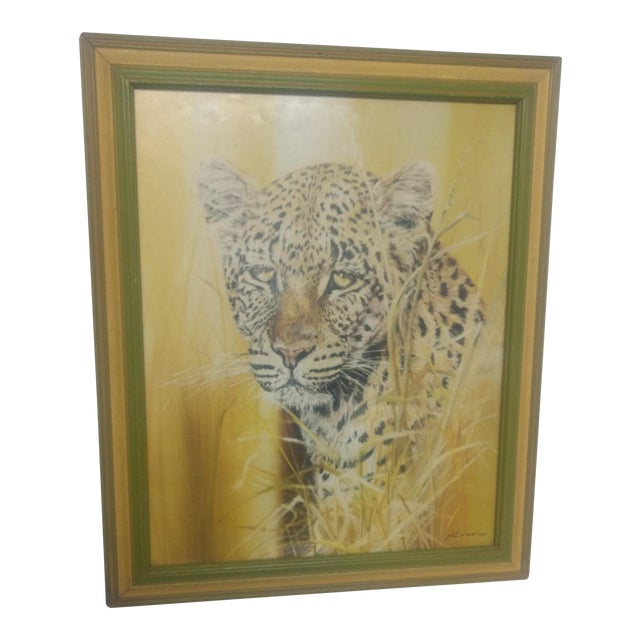 Phil Prentice Leopard Painting in Gold Frame For Sale