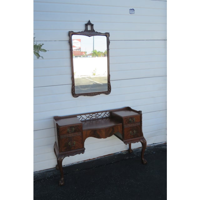 Chippendale Ball and Claw Feet Flame Mahogany Vanity Table and Mirror For Sale - Image 4 of 13