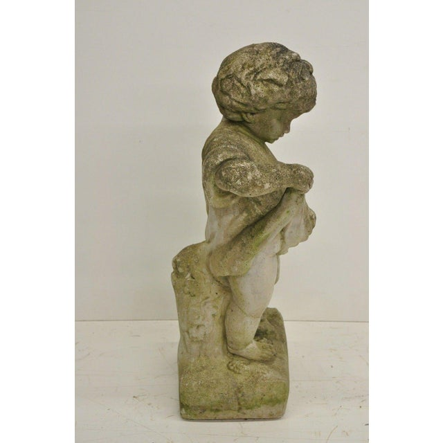 Pair of Concrete Four Seasons Style Baby Cherub Cement Garden Sculptures For Sale - Image 9 of 12