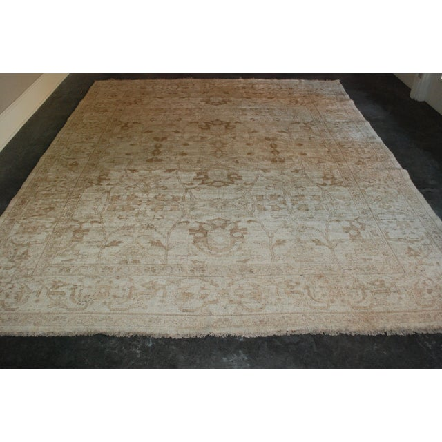 Vintage Hand-Knotted Wool Chobi Gold Rug 8x9 For Sale - Image 4 of 5