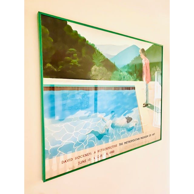 "Rare, iconic Metropolitan Museum Of Art exhibit poster from the seminal exhibit, ""David Hockney: A Retrospective"", which..."
