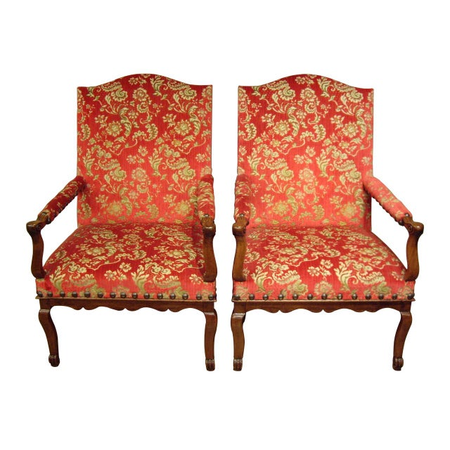 Textile Pair of Large Provincial Regence' Armchairs For Sale - Image 7 of 7