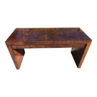 Vintage Burl Wood Parsons Writing Desk by Hekman Furniture Company For Sale